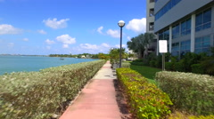 A scenic path by the bay Stock Footage