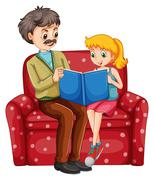 Grandfather and kid reading book together Stock Illustration