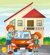 Dad and son washing car at home Stock Illustration