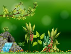 Background design with waterfall and cave Stock Illustration