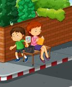Boy stealing from woman purse Stock Illustration