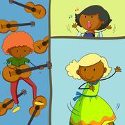 Musician playing guitar and girls singing Stock Illustration