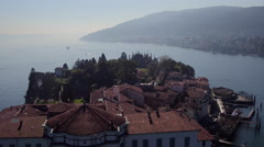 Isola Bella on Lake Maggiore aerial view Stock Footage