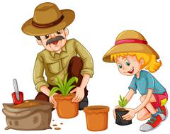 Grandfather and kid planting trees Stock Illustration