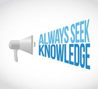Always seek knowledge megaphone Stock Illustration