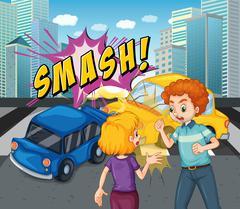 Accident scene with car crash Stock Illustration