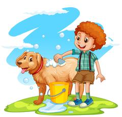 Boy giving dog a bath Stock Illustration