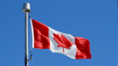 Canadian flag blowing in the wind. Blue sky background. Stock Footage