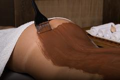 young girl in the spa salon, chocolate body wrap treatment, skin rejuvenation - stock photo