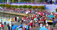 4K Canada Day Crowd, July 1, People Street Flag, Downtown Stock Footage