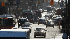 Busy Ottawa street with buses and traffic. Ottawa, Canada. Stock Footage