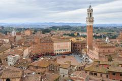 Torre del Mangia and Piazza del Campo Stock Photos
