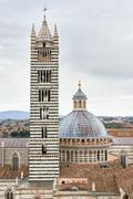 Siena Cathedral, a medieval church built in the Romanesque and Italian Gothic - stock photo