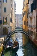 Bridge and Gondola in Venice Stock Photos