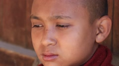 Portrait young monk in buddhist monastery . Inle lake, Myanmar, Burma Stock Footage