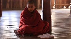 Young monks read mantras in a convent school, Inle lake. Myanmar, Burma Stock Footage