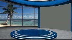 Stock Video Footage of News TV Studio Set 121 - Virtual Green Screen Background Loop