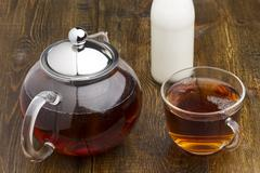 Set of glass teapot, teacup and milk bottle Stock Photos
