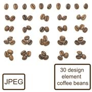 coffee beans isolated set design element - stock photo