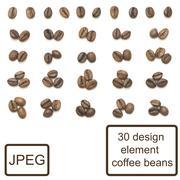 Coffee beans isolated set design element Stock Photos