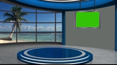 Stock Video Footage of News TV Studio Set 122 - Virtual Green Screen Background Loop
