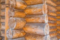 Detail of log cabin wooden house - stock photo