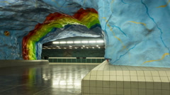 Stockholm Stadium subway station moving time-lapse Stock Footage