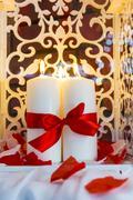 Romantic decorative burning candles celebration interior holiday Stock Photos