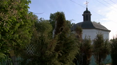 View of beautiful orthodox church at graveyard Stock Footage