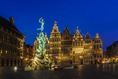 Guildhouses in Big Market Square of Antwerp at twilight, Belgium Stock Photos