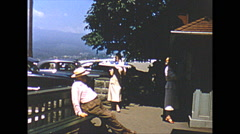Vintage 16mm film, 1952, Vancouver Prospect Point outdoor dining, Stanley Park Stock Footage