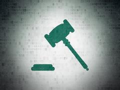 Law concept: Gavel on Digital Paper background - stock illustration