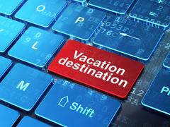 Vacation concept: Vacation Destination on computer keyboard background Stock Illustration