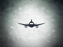 Tourism concept: Aircraft on Digital Paper background - stock illustration