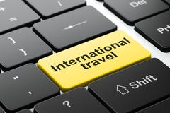 Tourism concept: International Travel on computer keyboard background - stock illustration