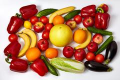 A lot of ripe vegetables and fruit Stock Photos