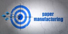 Industry concept: target and Paper Manufacturing on wall background - stock illustration