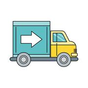 Delivery Lorry Driving Fast Design Flat - stock illustration