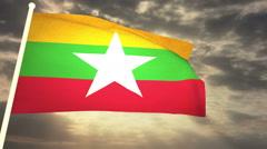 Flag Myanmar 03 Stock Footage