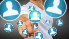 Businessman using modern social network Stock Photos