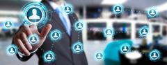Businessman using modern social network - stock photo
