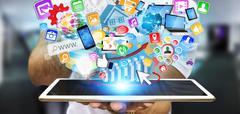 Businessman using modern tablet Stock Photos