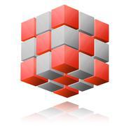 Cube abstract illustration - stock photo