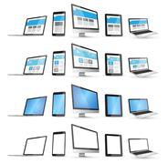 Modern digital tech device collection Stock Illustration