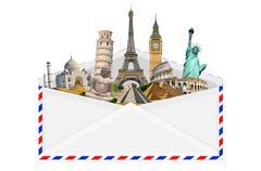 illustration of an envelope full of famous monument - stock photo