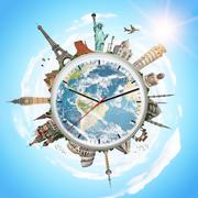 illustration of a clock with famous monuments - stock photo