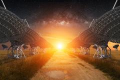 Radio Telescope view at night - stock photo