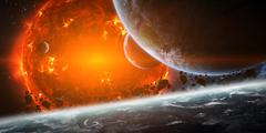 Exploding sun in space close to planet Stock Photos