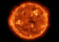 Powerful Sun in space Stock Photos