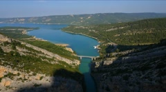 Aerial of beautiful mountain and river canyon in Verdon Gorge Stock Footage